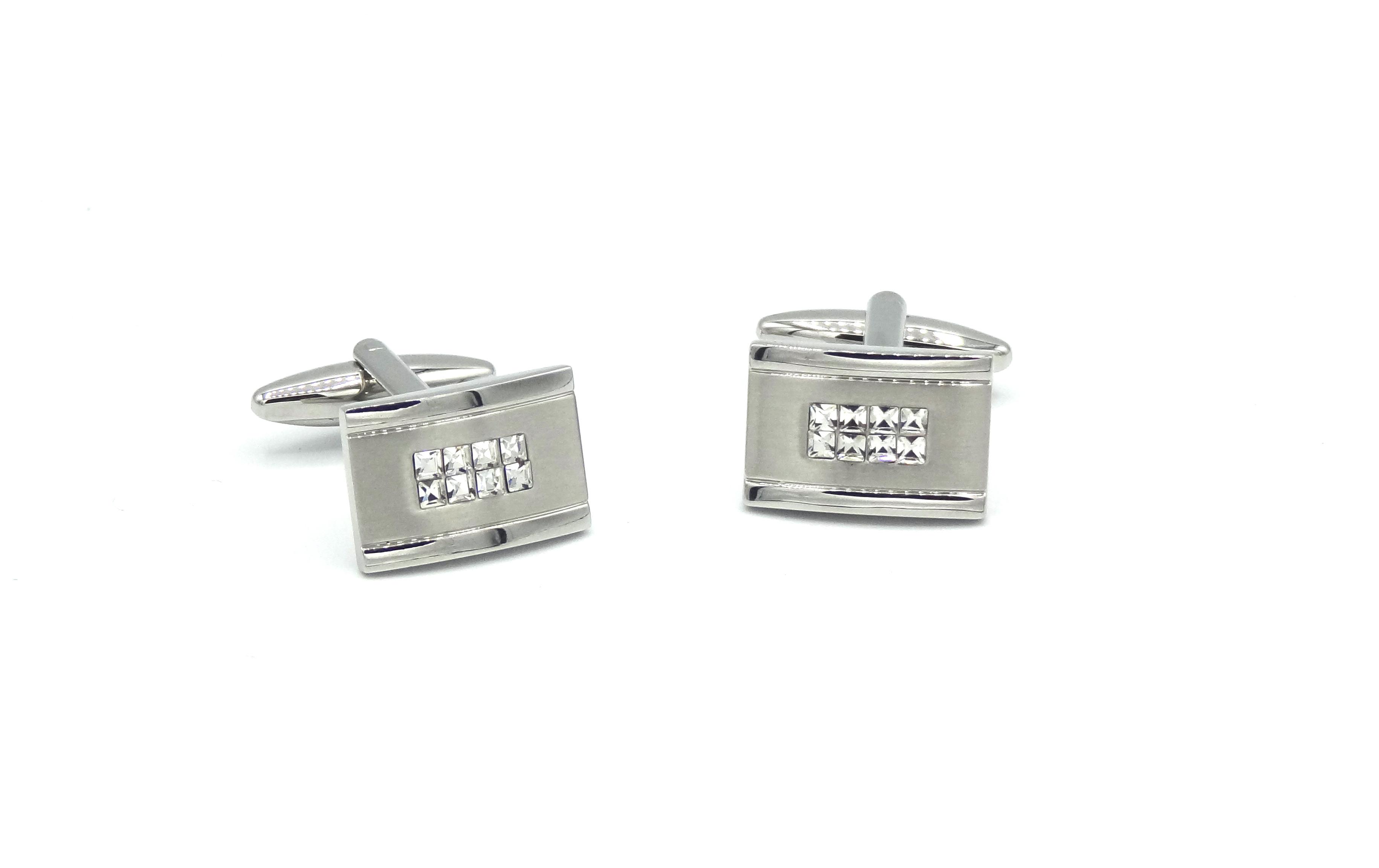 Manchetknopen Zilver met diamantjes