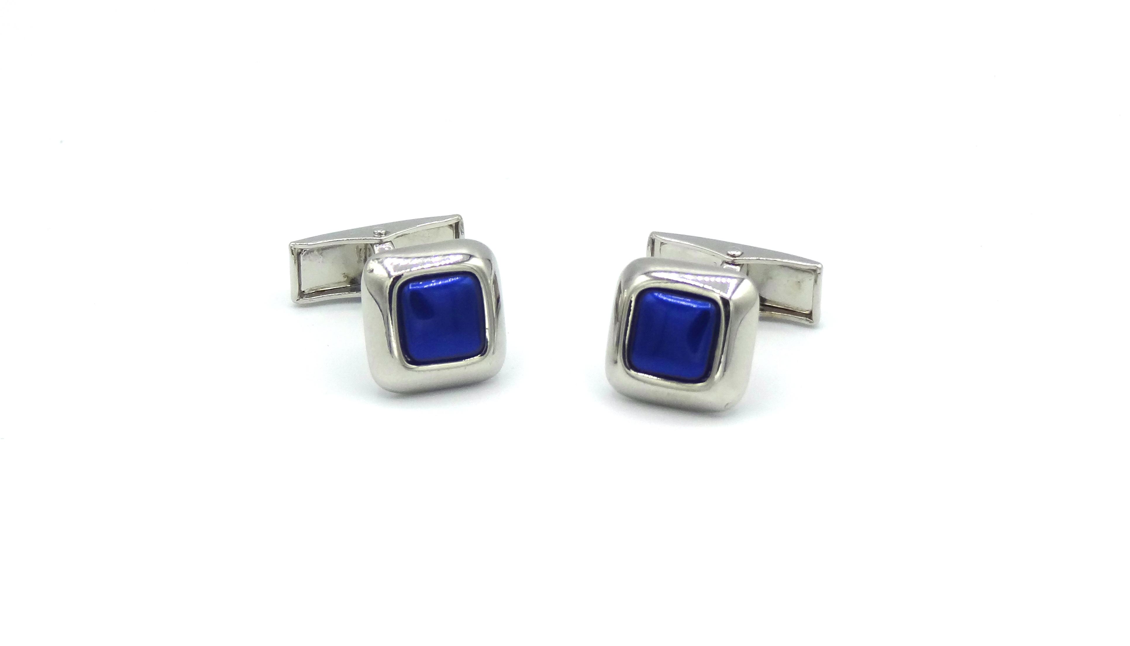 Manchetknopen Kobalt blauw vierkant