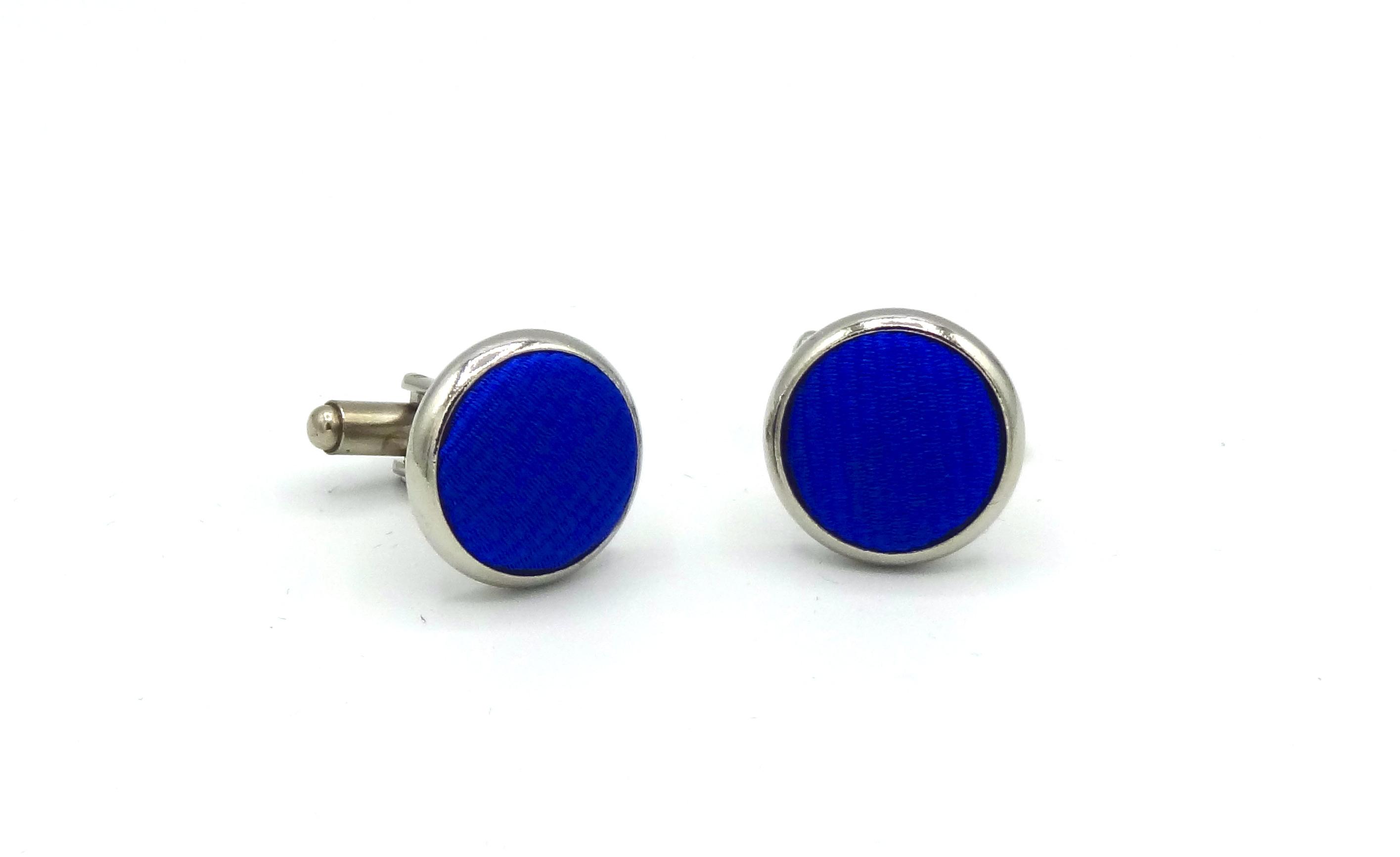 Manchetknopen Kobalt blauw zijde