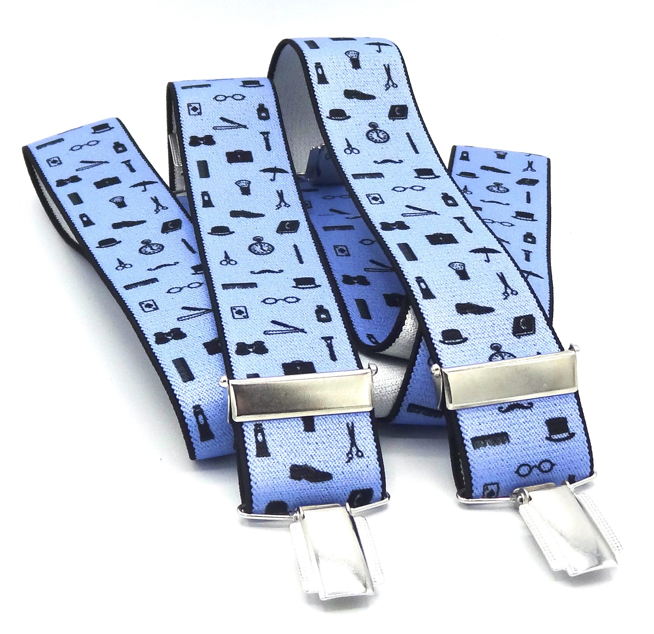 Bretels lichtblauw met zwarte figuurtjes