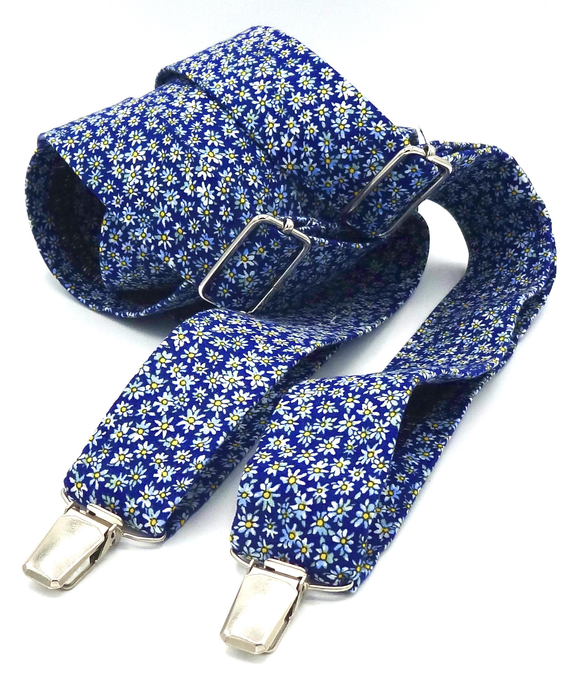 Bretels blauw met witte bloemetjes