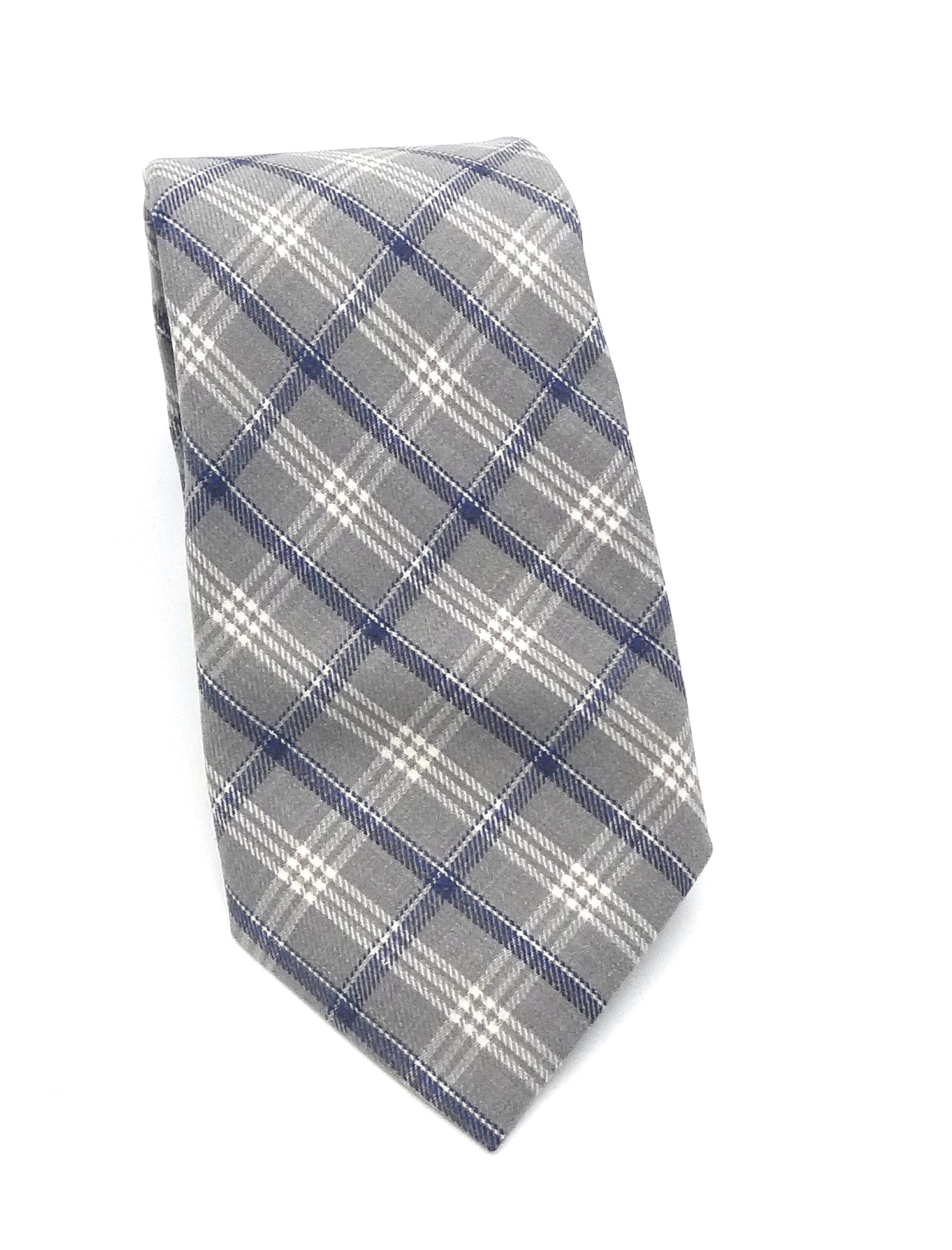 Stropdas grijs en blauwe ruit met donkerblauw pochet