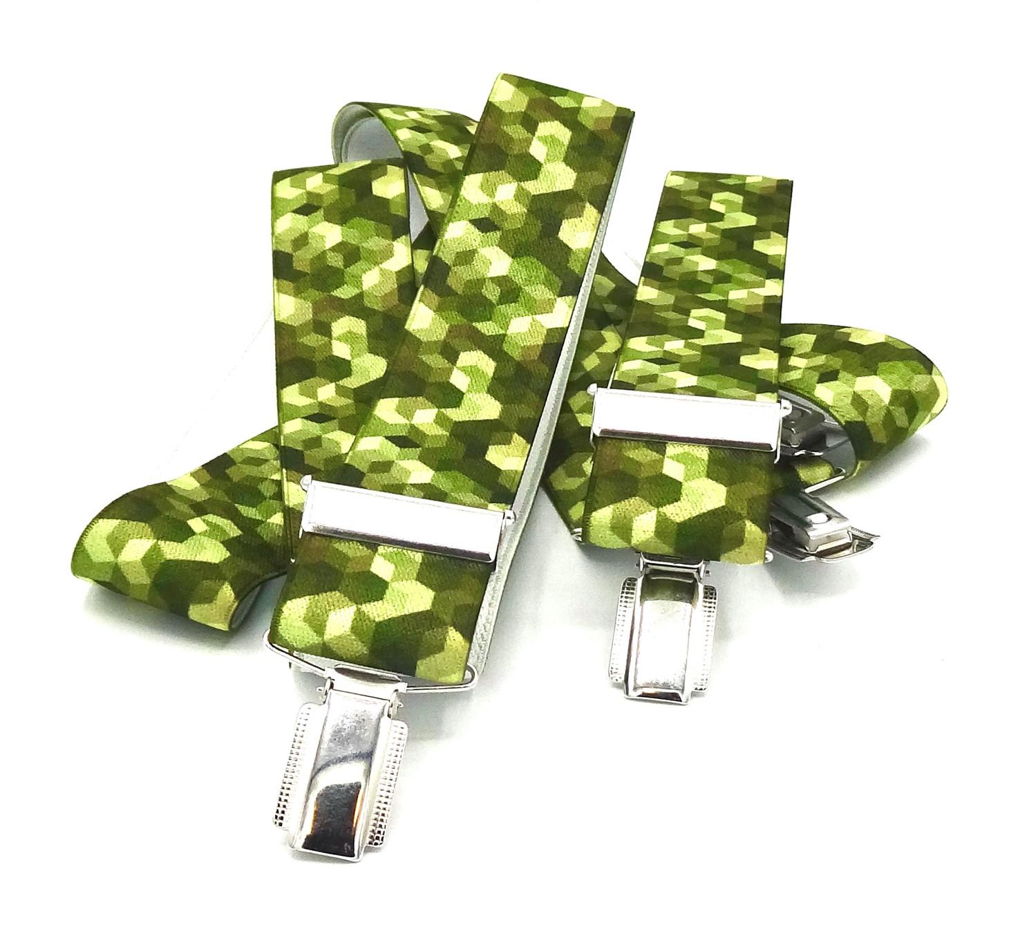 Bretels tinten groen met zes hoekig blokjes patroon
